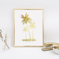 Palm Tree Print, Real Gold Foil Print, Palm Tree, Summer Poster, Tropical Modern Wall Art, Beach Print, California Print, Gold Home Decor.