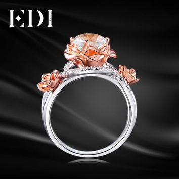 EDI Unique Natural Rose Moissanite Diamond 14k 585 Two-tone Gold Wedding Ring For Women Round Customized Best Fine Jewelry