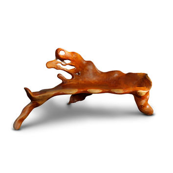 large sculpted tree root bench