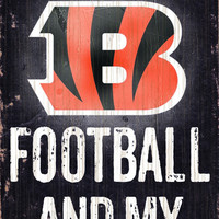 "Cincinnati Bengals Wood Sign - Football and Dog 6""x12"""