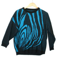 Vintage 80s Trippy Black and Blue Acrylic Ugly Sweater