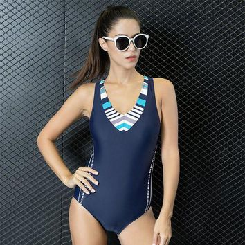 VONETDQ Women Swimming Sports Suit Patchwork Adjusted One Piece SwimSuit Tankini Beach Bathing Swim Suits Set Push Up Slim Swimwear 7724