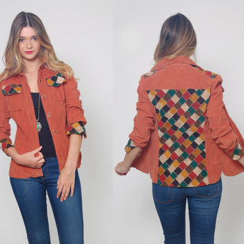 Vintage 70s PATCHWORK Shirt Jacket Burnt Sienna CORDUROY Shirt Boho Color Block Button Down Jacket