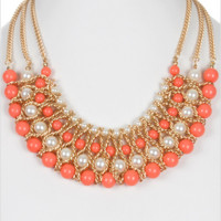 Elegant Peach Color Pearl Accent Layered Necklace Set