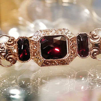 Antique Brooch Art Deco 1920s 1930s Czech Vauxhall Glass Ruby Red Rhinestone Cut Faceted Brass Filigree Silver Brooch Bohemian Jewelry
