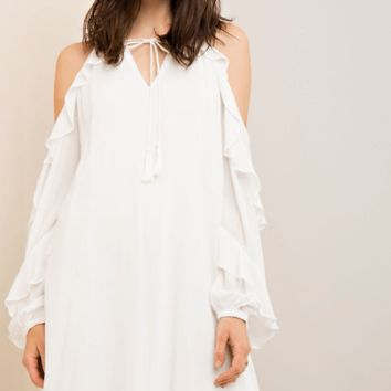 Cold Shoulder Long Ruffle Sleeve Tie Top Chiffon White Dress