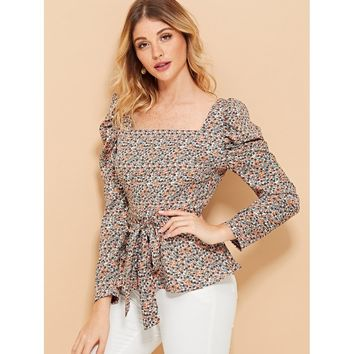 Puff Sleeve Square Neck Tie Waist Blouse