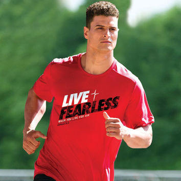 Kerusso Live Fearless Cross Active Unisex Christian Bright T Shirt