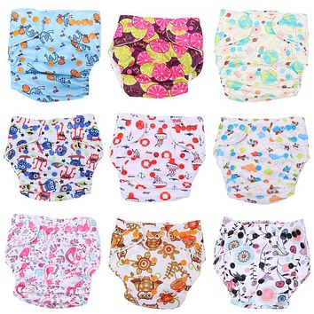 Baby Adjustable Cloth Diapers Cover Washable Baby Nappy Cartoon Reusable Baby Diapers Newborn Breathable Nappy Cover