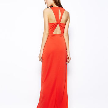 Orange Cross Back Maxi Dress With Slit
