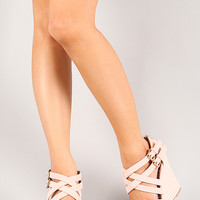 Qupid Clemence-73X Strappy Open Toe Platform Wedge
