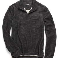 Wool-Cotton Half-Zip in Charcoal