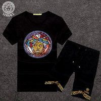 Versace Letter Floral Print Short Sleeve Sweater Set