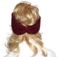 Burgundy Turban Womens Knit Headband  Adult Headband Cable Twist Headwrap Burgundy