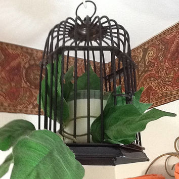 Birdcage Bird Cage Candle Holder Vintage Hanging Black Wire Vine Candle Home Decor Bath Decor Patio Porch Decor Country Decor Gift Victorian