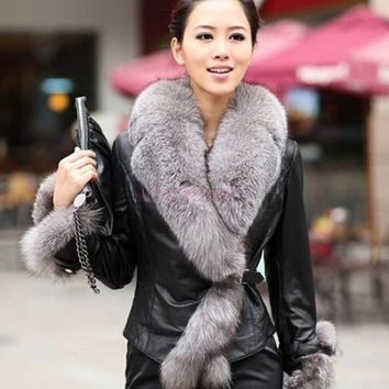 Stylish Lady Women's Faux Fur Collar Winter Warm Long Sleeve Jacket Coat Parka Overcoat Outerwear = 1932736132