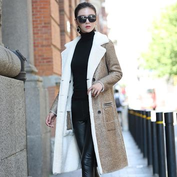 Real Sheepskin Shearling Coat for Women Genuine