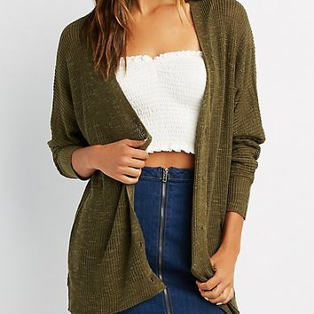 Shaker Stitch Button-Up Cardigan | Charlotte Russe