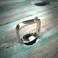 Sterling Silver and 9k Rose Gold faceted ball Statement Ring. Modern Stylish D Shaped Contemporary Ring