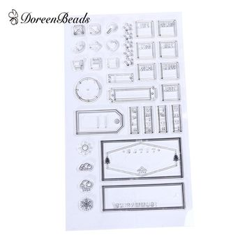 DoreenBeads Silicone Stamps Transparent Office Label DIY Scrapbooking Clear Stamps Approx 6.4cm x 3.4cm-1.3cm x 0.9cm, 1 Set