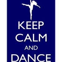 Rikki KnightTM Keep Calm and Dance On - Blue Color Design iPhone 4 & 4s Case Cover (White Rubber with bumper protection) for Apple iPhone 4 & 4s