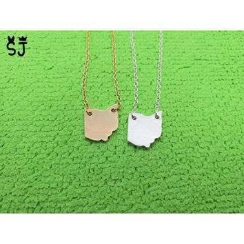 Cute Outline Ohio State Necklaces State