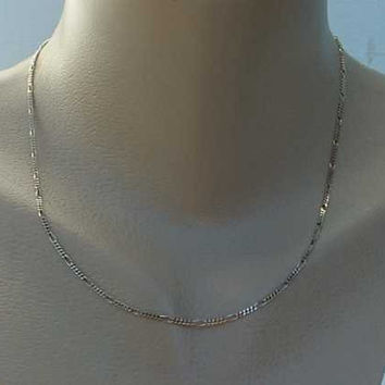 Sterling Silver Fine Figaro Chain Necklace 18 inches Jewelry