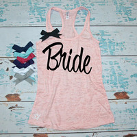 Bride tank top - Burnout tank top for the Bride. S-2XL. Bridesmaid tank tops. Bachelorette Party shirtswith bow. Bridal Shower gift.
