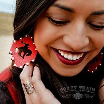 Red Blingin' Bronc Earrings by Crazy Train