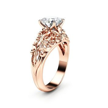 Moissanite Engagement Ring 14K Rose Gold Ring Filigree Anniversary Ring Unique Engagement Ring