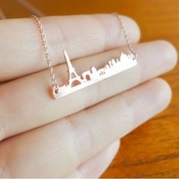 Paris City Skyline Necklace with Eiffel Tower - Rose Gold  Gold & Silver - Pray for Paris