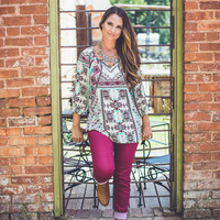 Aztec Print Top in Burgundy