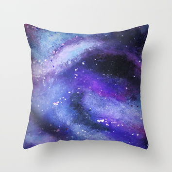 PAINTED GALAXY (Painted, stars, space, milky-way) Throw Pillow by AEJ Design