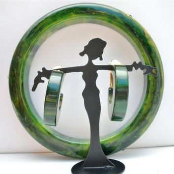 Green Bakelite Bracelet Earring Vintage Set Marble  Hoops Bangle Rhinestone