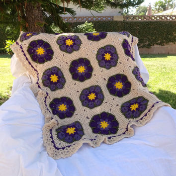 African Flower Afghan, Crochet Blanket, Crib Blanket, Sofa Throw, Purple Beige Throw, Granny Square Blanket, Baby Shower Gift, Housewarming