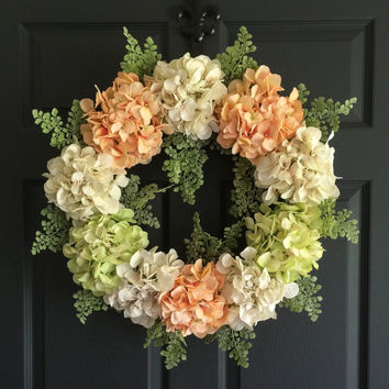 NEW Door Wreath Elegance Collection -  Peach Hydrangea Wreath - Summer Wreath - Front Door Wreaths - Artisan Wreath - Housewarming Gift