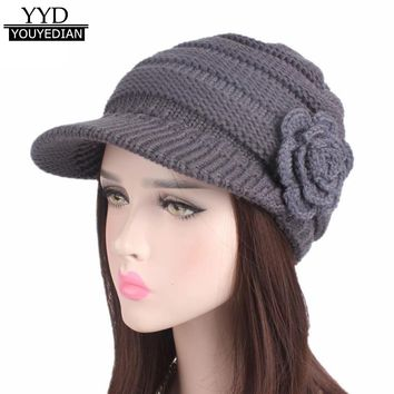 5Colors Solid Floral Kintted Caps Women Ladies 2017 New Winter Knitting Hat Brim Hat Female Casquette Bone Feminino &1123