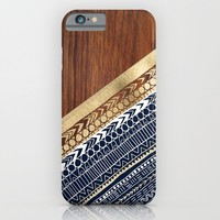 Navy & Gold Tribal on Wood iPhone & iPod Case by Tangerine-Tane | Society6
