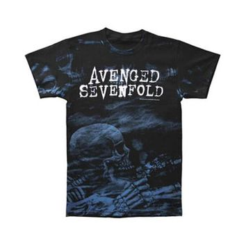 Avenged Sevenfold Men's  Skeleton Mist Allover Mens Reg T T-shirt Black
