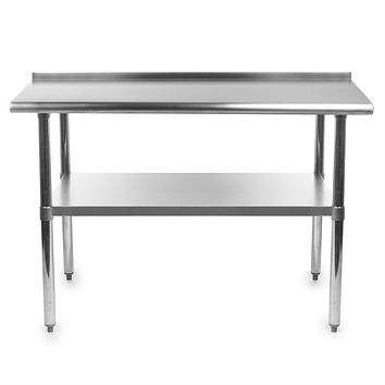 Heavy Duty 48 x 24 inch Stainless Steel Work Table with Backsplash