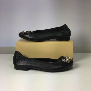 Me Too Women's Black Sapphire Crystal Embellished Flat, Size 7.5M