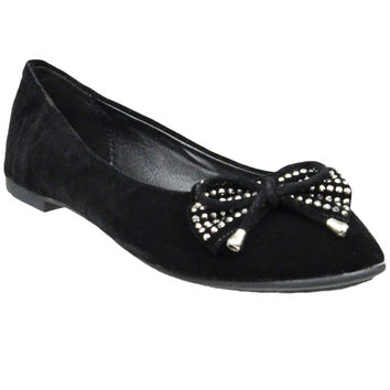 Womens Tassel Accent Studded Bow Ballet Flats Black