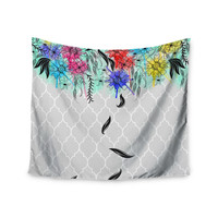"Famenxt ""Watercolor Spring"" Gray Floral Wall Tapestry"