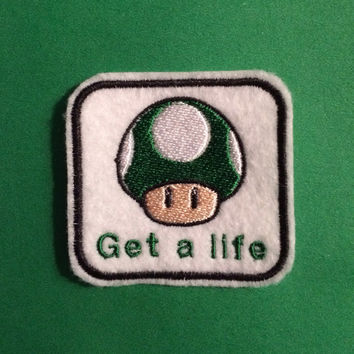 "Nintendo 1up ""Get A Life"" Iron-on Patch"