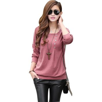 5XL Winter Blouses for Women Top 2017 Buttons Batwing Long Sleeve O-neck Cotton Loose Shirt Plus Size blusas femininas mujer