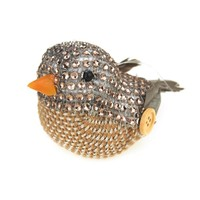 Miniature Bird Animal Holiday Winter Decor, Natural, 4-Inch