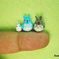 Micro Woodland Totoro and Friends - Mini Tiny Dollhouse Miniature Rabbits - Set of 3 Totoros - Made To Order