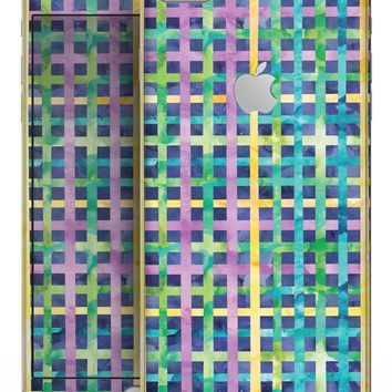 Purple Yellow Green and Blue Stitched Pattern - Skin-kit for the iPhone 8 or 8 Plus