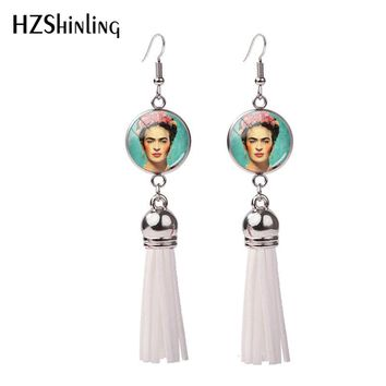 2018 New Frida K Tassel Earring Mexican Artist Paintings Fish Hook Earrings Handmade Jewelry Glass Dome Bohemian Style Earbob