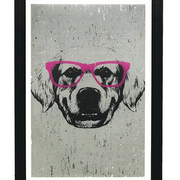 """Golden Retriever with Pink Glasses Art Print / Poster - 13x19"""""""